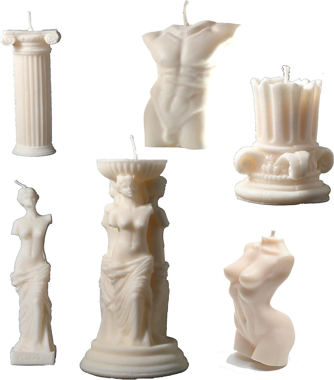 mart Max 46% OFF 6-Pack Ancient Greek Candle Set Female Candl Body Venus