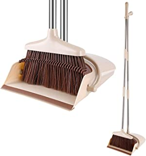 Juego de escoba y recogedor plegable con mango largo y extensible. dustpan and brush