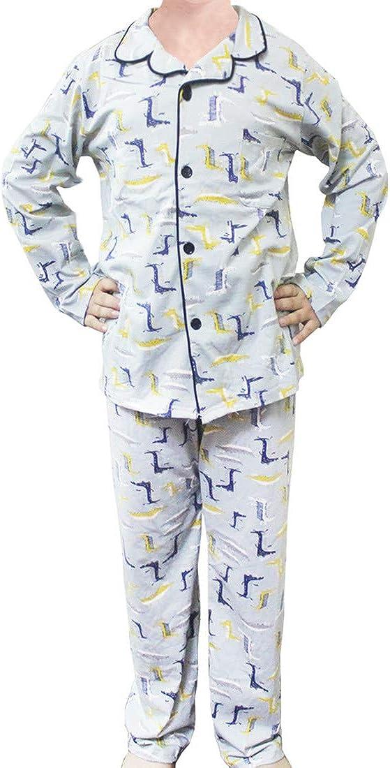 Button Down Pajamas for Boys Loungewear Kids Sleepwear Notch Collar PJs Clothes Two Piece Set 5-12 Years