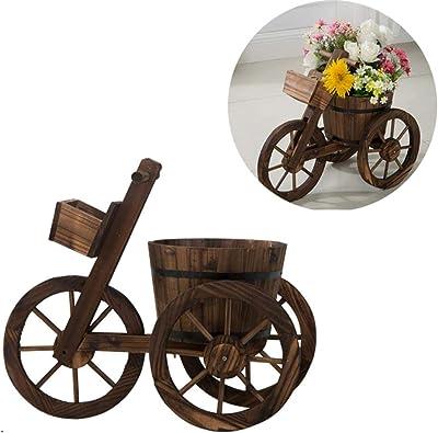 CJSWT Macetero de Flores para vagones de Madera, macetas de jardín, macetas para el hogar, Interior, Exterior, Bicicleta, Soporte, Caja, Soporte Decorativo, decoración de Patio: Amazon.es: Jardín