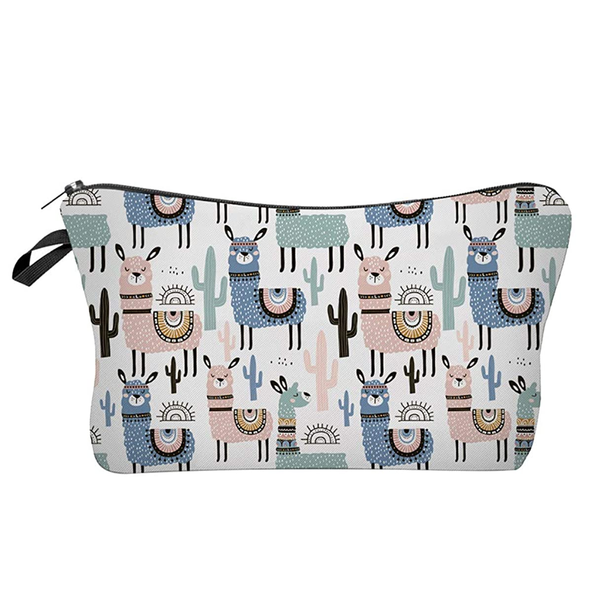 Pausseo Women Letters Alpaca Printing Makeup Cosmetic Brushes Bag Toiletry Storage Travel Handbag Student Pencil Zipper Clutch Case Stationery Box Pouch School Supplies Coins Change Pen Purse Pack