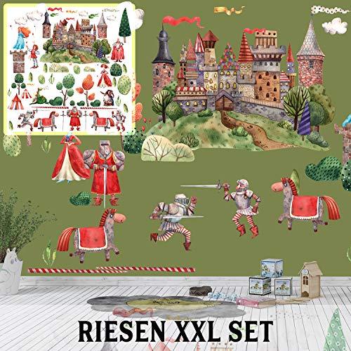 XXL Wandtattoo Ritter Ritterburg Set verschiedene Motive| Kinderzimmer Aufkleber bunt Wanddeko