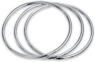 Basic Set Of 3 Simple Plain Stackable Bangles Bracelet For Women 925 Sterling Silver 3MM