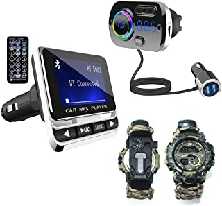 $62 » WYYHAA Car Bluetooth FM Transmitter and Adjustable Survival Bracelet Watch Suitable for Outdoor Travel Camping