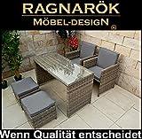 PolyRattan Gartenmöbel DEUTSCHE MARKE -- EIGNENE PRODUKTION -- 8 Jahre GARANTIE auf UV-Beständigkeit Garten Möbel Essgruppe Tisch Stühle Hocker Ragnarök-Möbeldesign Rundrattan Optik