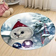 Christmas Cat Rug Bedroom Living Room Flannel Warm Carpet Round Children's Crawling Mat Non-Slip Moisture-Proof,5,60cm
