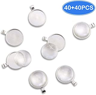 Oopsu 40 Pieces Transparent glass cabochons with 40 Silver Pendant Trays, clear glass dome cabochon, Non-calibrated Round 1 inch/25mm For Photo Pendant Craft Jewelry Making