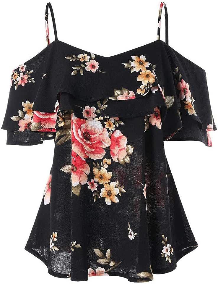 Women's V-Neck Loose Flower Printed T-Shirt Casual Strapless Off Shoulder Ruffled Bandage Tops
