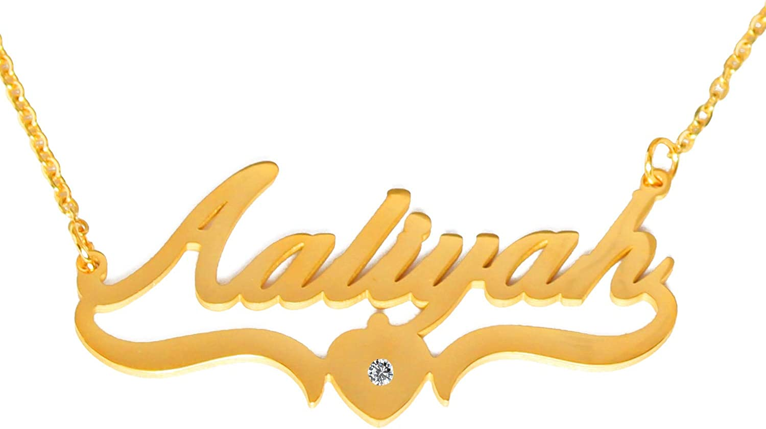 AALIYAH - Personalized Custom Name Necklace -18ct Gold Plated - Heart Shaped