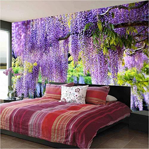 Gepersonaliseerde print met 3D-borden, romantische bloemen, violet 140 x 100 cm