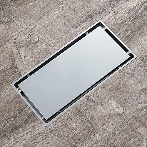 DYR Fliesenbodenablauf einlegen, Rechteck 20X10cm Messing Chrom Badezimmer Toilette Anti-Geruchsabläufe, Haarsieb, Chrom