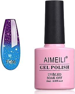AIMEILI Soak Off UV LED Temperature Color Changing Chameleon Gel Nail Polish - Glitter Purple to Glitter Blue Full Shimmer/Diamond (TC06) 10ml