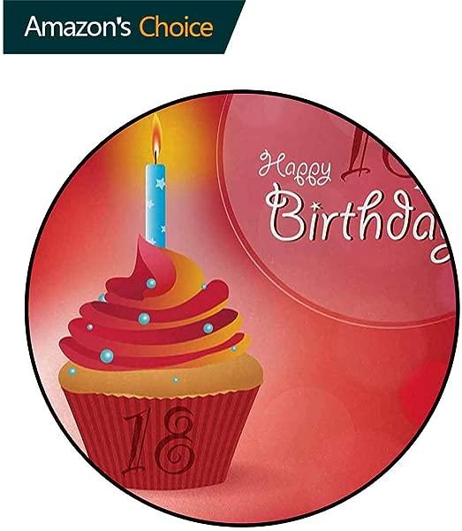 18Th Birthday Modern Machine Round Bath Mat Sweet Eighteen Party Birthday Cupcake With Candles Artwork Print Non Slip No Shedding Kitchen Soft Floor Mat Diameter 71 Inch Hot Pink Red And Orange