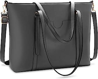NUBILY Handtasche Shopper Damen Groß 15.6 Zoll PU Leder Shopper Grau Laptop Umhängetasche Gross Business Aktentasche Fraue...