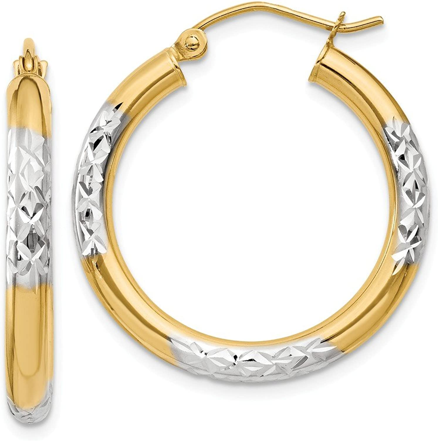 Beautiful rhodium plated gold and silver 14K rhodiumplatedgoldandsilver 14K & Rhodium Diamondcut 3x25mm Hoop Earrings