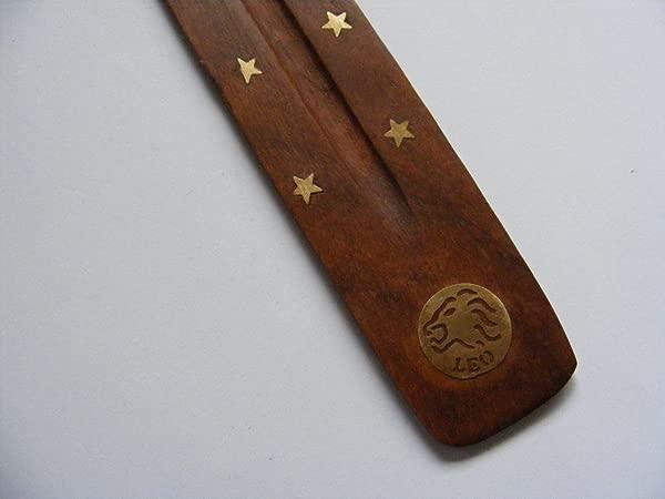 4Rissa Astrology Zodiac Sign Wooden Incense Stick Burner Ash Catcher Aquarius Pisces Aries Taurus Gemini Cancer Leo Virgo Libra Scorpio Sagittarius Capricorn Leo