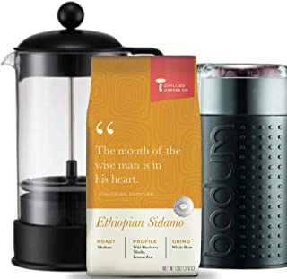 Civilized Coffee Ultimate Coffee Gift Box with Coffee Grinder, French Press and Ethiopian Sidamo Whole Bean Coffee