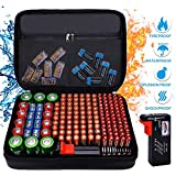 Fireproof Battery Organizer Storage Case Waterproof Explosionproof, Hard Safe Box Fits 210+ Batteries Case - with Tester BT-168, Carrying Container Bag Energy Batteries AA AAA C D 9V Iithium 3V Holder