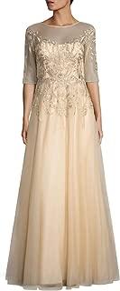 Teri Jon Beaded Embroidered Illusion Elbow Sleeve Evening Gown Dress