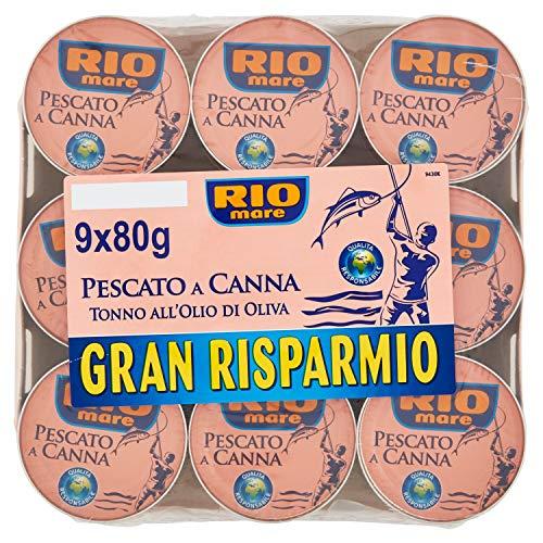 Rio Mare, Tonno all'Olio di Oliva, Qualità Pinne Gialle, 9 Lattine da 80 g