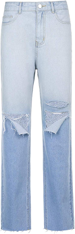 Kinsaiy Jeans for Women High Waisted Stretch,Gradient Denim Jeans Pocket Long Pants Elastic Holes Jeans Baggy Trousers