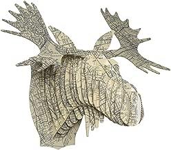 Vintage Map Prints Cardboard Moose Heads (Oakland)