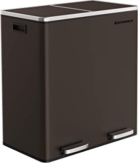 SONGMICS Dual Trash Garbage Can, 16 Gal (60L) Rubbish Bin, Metal Step Bin, with Dual Compartments, Plastic Inner Buckets and Hinged Lids, Handles, Soft Closure, Airtight, Brown ULTB60BR
