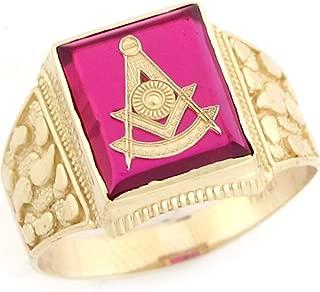 Jewelry Liquidation 10k Real Gold Past Master Freemason Masonic Simulated Ruby Nugget Mens Ring