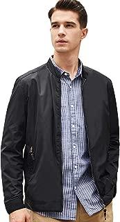 BEVERRY Men's Lightweight Casual Slim Fit Jacket Collarless Coats Zip Up Windbreakers