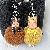 Generic Kaufen Sie eine Haarnadel 4, Vinyl Schlaf Puppe Schlüsselbund weiblichen koreanischen Cartoon Rex Kaninchenfell Ball Auto Schlüsselanhänger Plüschtasche Anhänger, braun und gelb