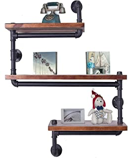 Industrial Pipe Shelving Bookshelf Rustic Modern Wood Ladder Pipe Wall Shelf 3 Tiers Wrought IronPipe Design Bookshelf DIY Shelving(Dia 32mm,Weight:30lb)