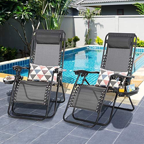 Shintenchi Patio Zero Gravity Recliner Lounge Chair, Outdoor Folding Beach Chair Recliner, Lawn Adjustable Long Chair w/ Cup Holder and Headrest, Set of 2 for Yard Garden Deck Poolside Camp, Gray