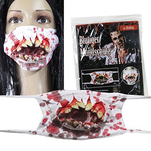 Preis am Stiel Halloween Blutiger Mundschutz mit Zombiezähnen | Kostüm | Falsche Zähne | Karneval | Grusel | Kostüm für Erwachsene | Party