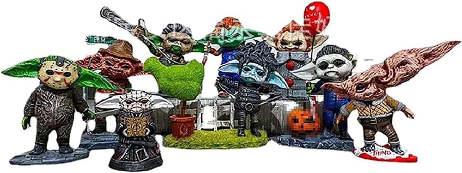 LEMOKIKI Master Yoda Halloween Horror Movie Dwarf Killer Statuem - Massacre Clown Back to Soul Adornos de Resina - Spooky Undead Halloween Escultura Combat GNOME para jardín al Aire Libre (K)