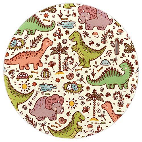 nakw88 Alfombra redonda súper suave para el suelo interior, lujoso, para sala de estar, dormitorio, alfombra de juegos impresa, 120 cm, diseño retro de dinosaurios, animales de bosque