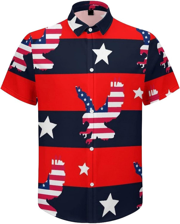 Men's Regular-Fit Short-Sleeve Printed Party Holiday Shirt US Flag Eagle Stripe Star