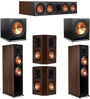 Klipsch 5.2 Walnut System 2 RP-8000F Floorstanding Speakers, 1 Klipsch RP-504C Center Speaker, 2 Klipsch RP-502S Surround Speakers, 2 Klipsch SPL-120 Subwoofers