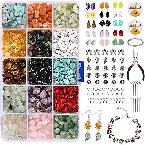 Juego de joyas de perlas de piedras preciosas naturales, 15 colores, para manualidades, joyas, collar, pulsera, pendientes para perlas de piedras naturales, con gancho y anillos