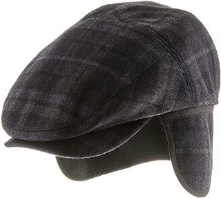 Tusco Wool Grey Plaid Ivy Cap Newsboy Hat with Fleece Ear Flaps