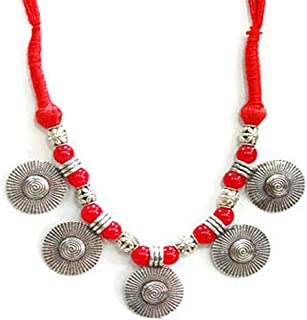 Designer Oxidized German Silver Coin Style Necklace with Beads and Thread Work |Elegant| Stylish,Trendy Unique Neckpeice, ...