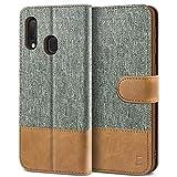 BEZ Handyhülle für Samsung Galaxy A20e Hülle, Tasche Kompatibel für Samsung Galaxy A20e, Schutzhüllen aus Klappetui mit Kreditkartenhaltern, Ständer, Magnetverschluss, Grau