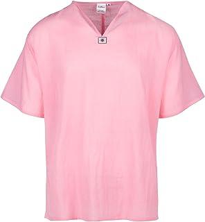 LOFBAZ Men's T-Shirt 100% Cotton Beach Hippie Shirt V-Neck Yoga Tunic Top