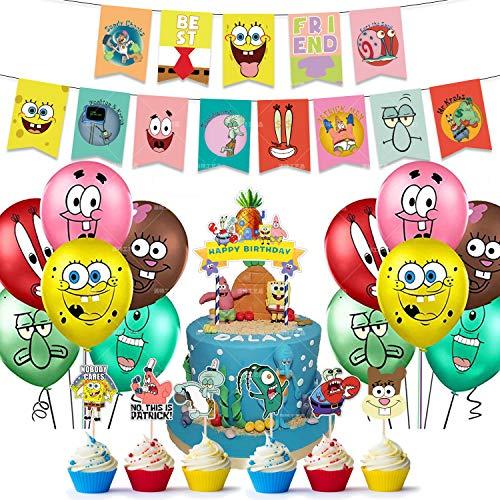 LLMZ Kit Globos Látex 38PCS Bob Esponja Decoración para Fiestas SpongeBob Banner Globos Kit Happy Birthday Adorno de Torta para SpongeBob Decoración para Fiestas de Cumpleaños