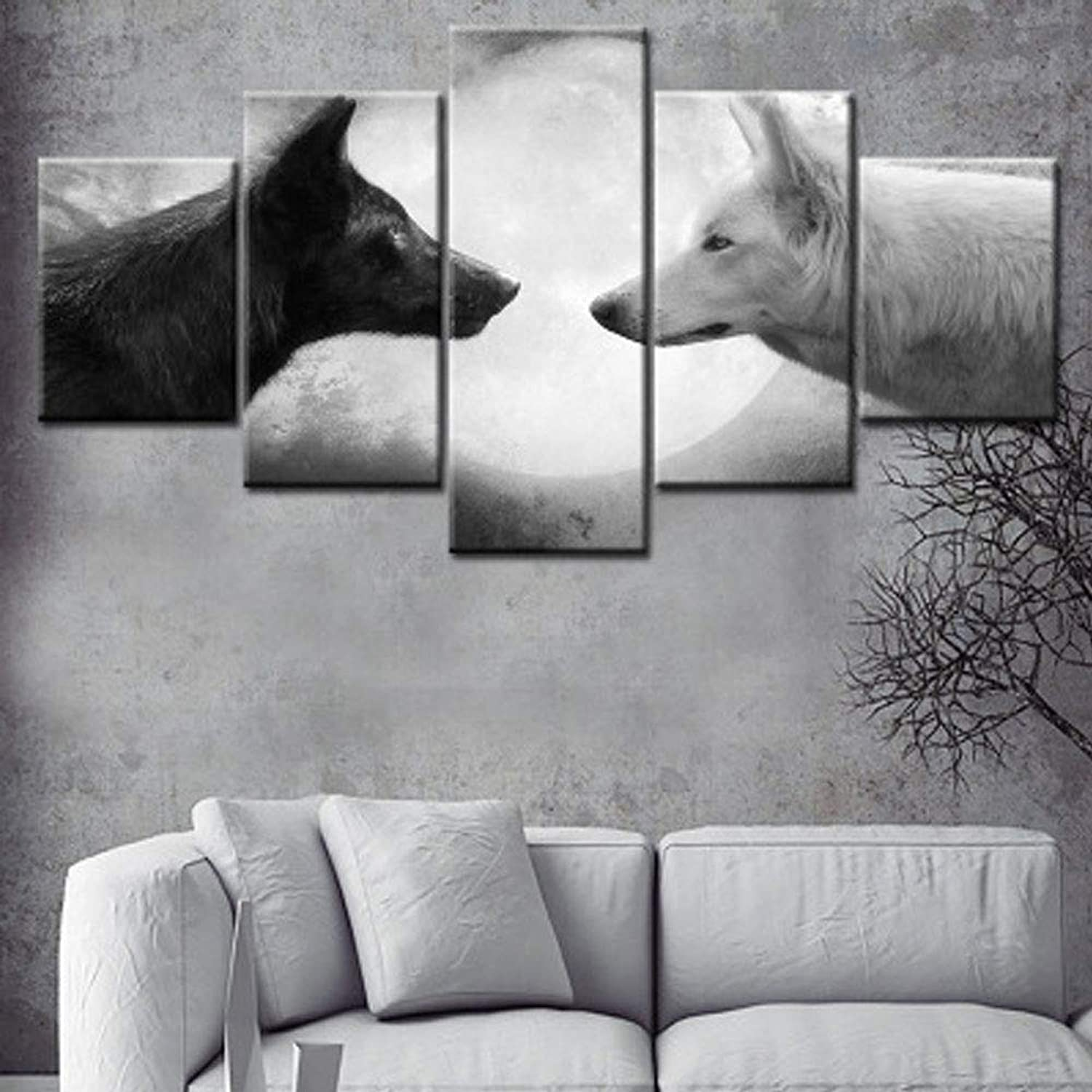 Modern&Simple Canvas Prints Black Wolf White Fox Moonlight Painting On Canvas Night Scenery colorful Wall Art for Home Wall Hotel Office Study Decoration 1 Panel with Inner Frame