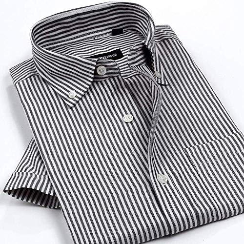 SHENSHI Herrenhemden Kurzarm,Klassische Hemdknöpfe, Bügelfreie Hemden Kariertes Gestreiftes Hemd Business Club Herrenbekleidung, Streifen, 3X, Groß
