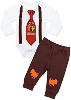 Baby Boy Thanksgiving Outfit My First Thanksgiving Bodysuit Romper + Pants Clothes Sets
