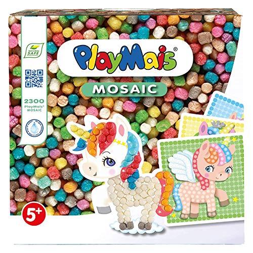 PlayMais Mosaic Dream Unicorn kit de Loisirs créatifs pour Filles et garçons à partir de 3 Ans | Plus de 2300 6 modèles de mosaïque avec des Licornes | stimule la créativité et la motricité