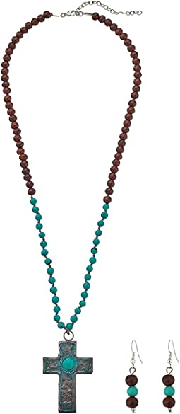 Turquoise Beads Patina Cross Necklace/Earrings Set