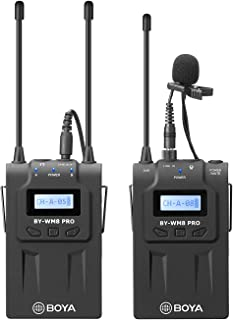 Wireless Lavalier Microphone for Smartphone, BOYA by-WM8 Pro-K1 UHF Lapel Mic System with LCD Screen for DSLR Camera Camcorder iPhone x 8 7 6 Samsung YouTube Street Interview Livesteam Teamwork Vblog