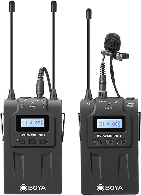BOYA Sistema de micrófono inalámbrico de dos canales Lavalier mejorado con 1 transmisor de cuerpo y 1 receptor portátil para cámara réflex digital Sony Nikon de Canonvideocámara XLR teléfonoYouTube